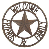 Welcome Friends Round Metal Decor